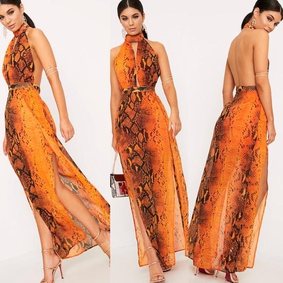 e0a8963f27 PrettyLittleThing Dresses   Orange Snake Print Maxi Dress   Poshmark